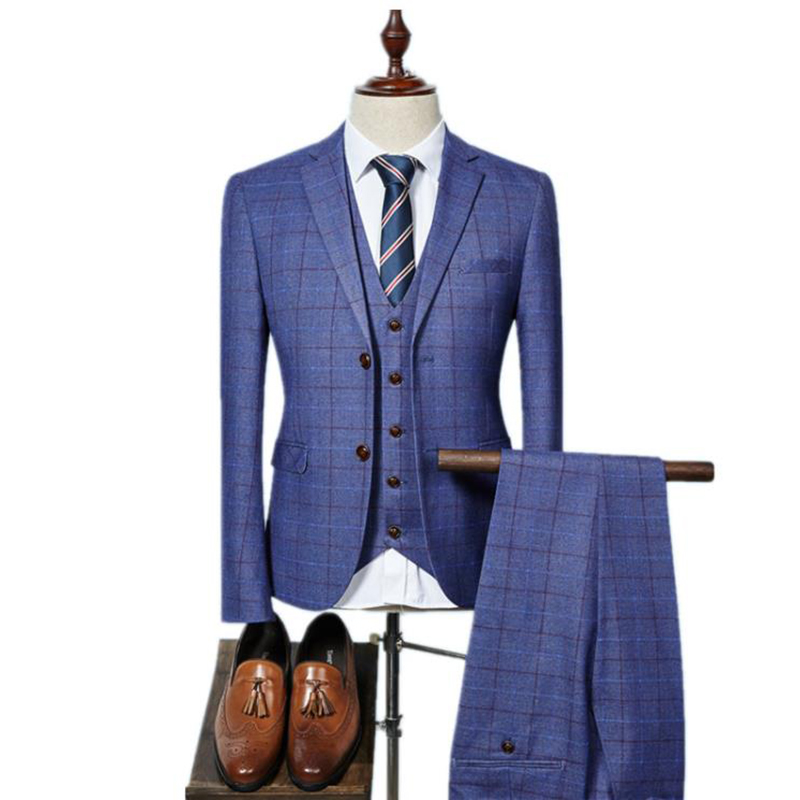 2019 Groom Wear single Breasted plaid casual suit men,men's Business suits plus size S 3XL Free shipping men suits