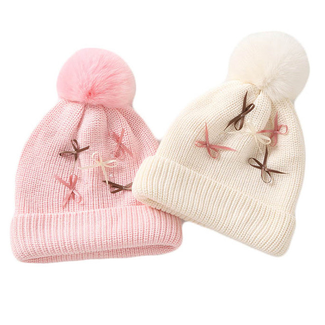 06b876e37f2 2018 Autumn Winter Baby Cute Bow Cotton Hat Scarf For Kids Boy Girl Knitted  Earflap Beanies
