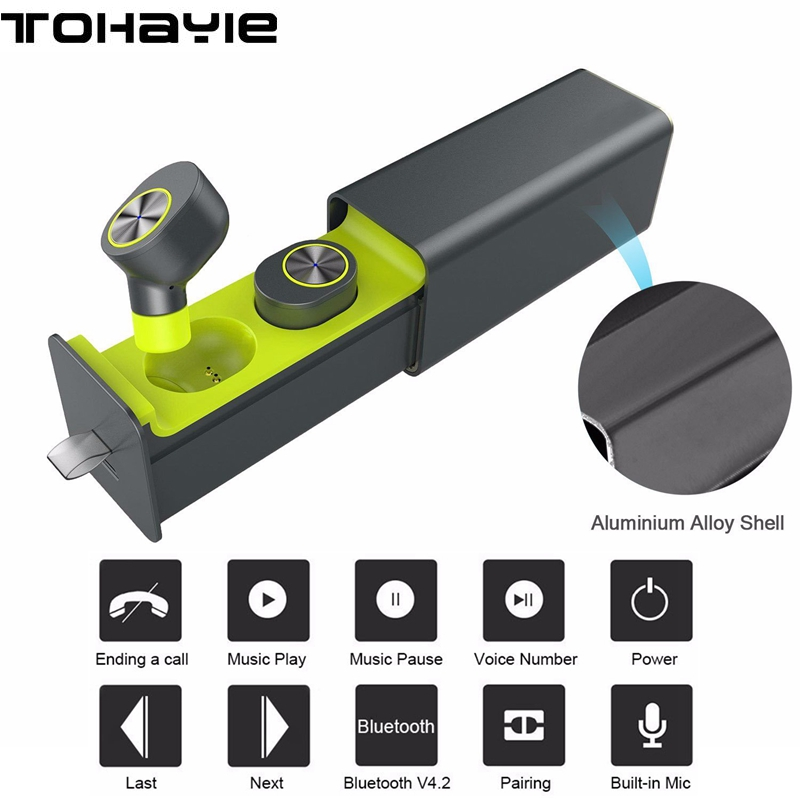 ToHayie GW10 True Twins Wireless Earphones Bluetooth Headset V4.2 TWS Earbuds Magnetic Charger Box HD MIC Earphone for All Phone new dacom carkit mini bluetooth headset wireless earphone mic with usb car charger for iphone airpods android huawei smartphone
