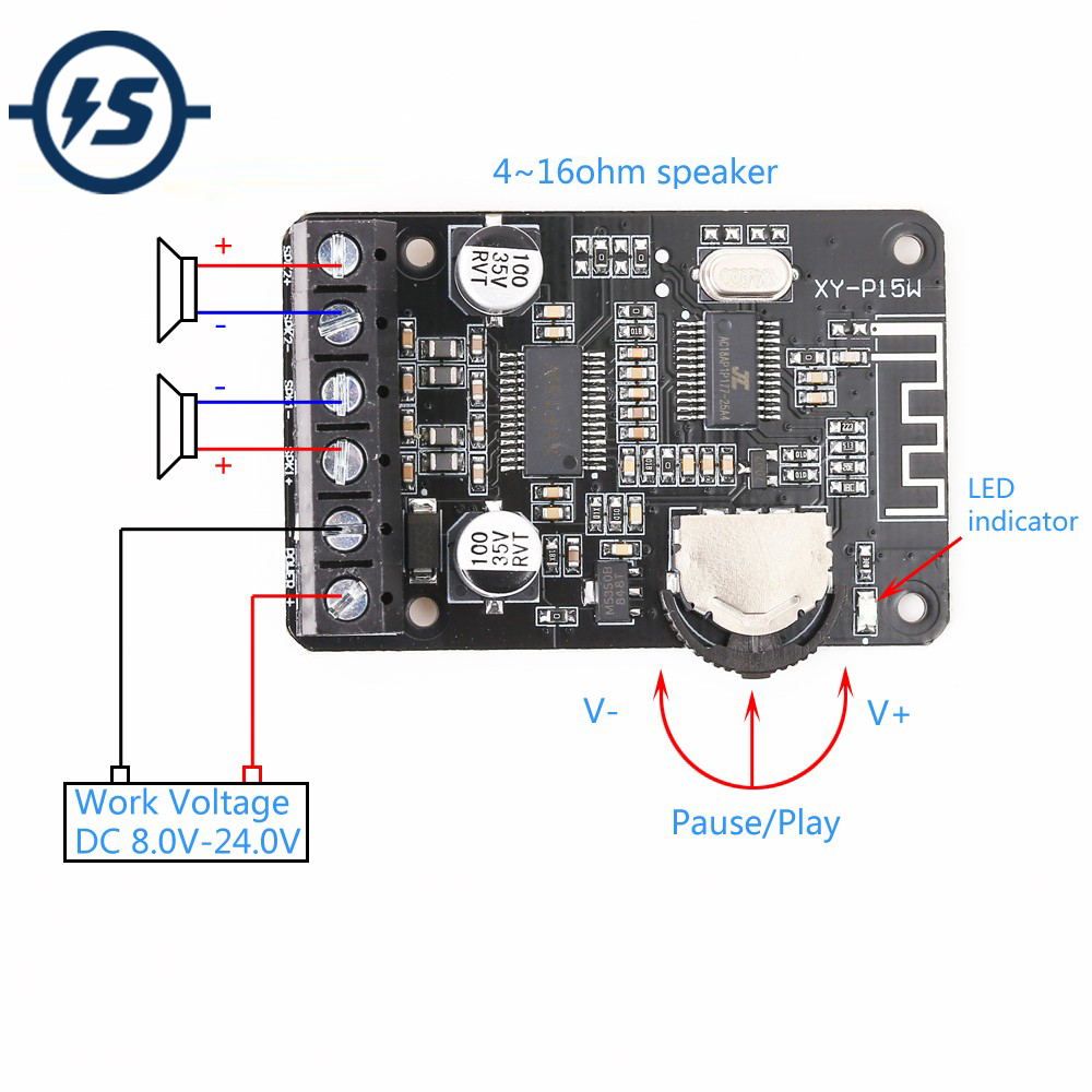 Stereo Bluetooth Module Power Amplifier Dual-Channel Board <font><b>12V</b></font> 24V 10W 15W 20W Bluetooth Receiver Module for DIY image