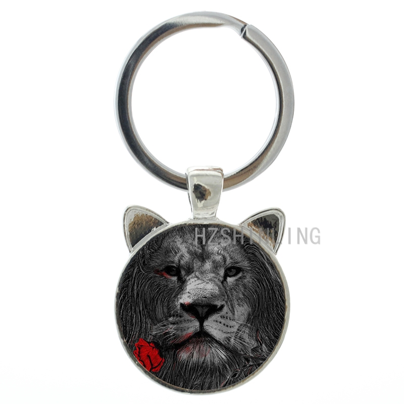 Vintage rose lion keychain retro style lion animal art pture glass cabochon key chain ring holder cool men keyring gifts CN661