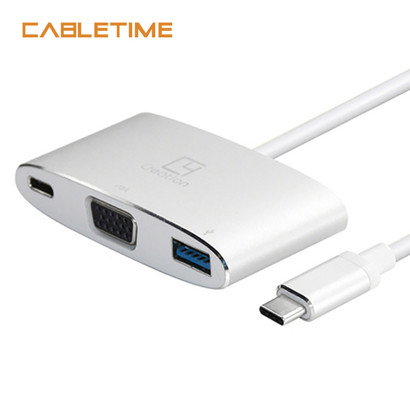 Cabletime Type C to VGA Adapter 3 in 1 USB Type C 3.1 to USB 3.0 Hub Female Converter 60hz for Macbook Chromebook Adapter N077