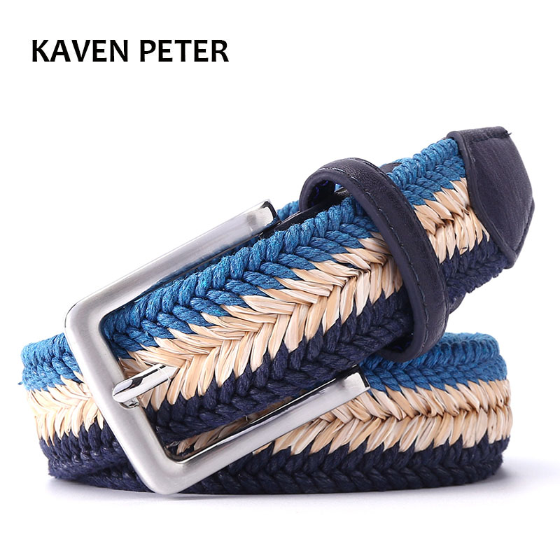 "Unisex Plain Webbing Mens Boys Waist Belt Casual Braided Belt  With Wax Rope and Straw Pin Buckle Belt 1-3/8"" Wide 160cm Length"