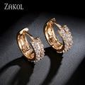 ZAKOL Round Cut Zircon Earrings For Women Gold and Platinum Plated Hoop Earrings Clear Crystal Earring Vintage Jewelry FSEP509