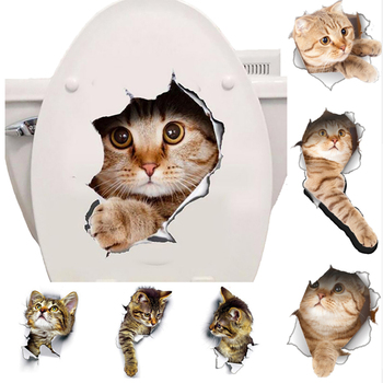 Cats 3D Wall Sticker Toilet Stickers Hole View Vivid Dogs Bathroom Home Decoration Animal Vinyl Decals Art Sticker Wall Poster 1