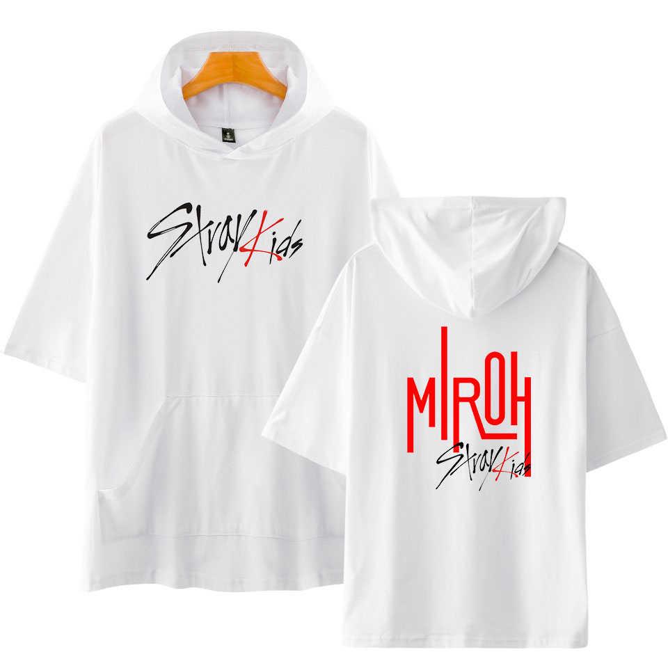 New Harajuku Kpop Stray Kids Hooded T-shirts Women/Men Fashion Summer Short Sleeve Tshirt 2019 Hiphop Streetwear K Pop Clothes