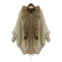 Women S Plus Size Knit Loose Sweater Cardigan With Faux Fur Trim
