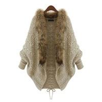 Women S Plus Size Knit Loose Sweater Cardigan With Faux Fur Trim