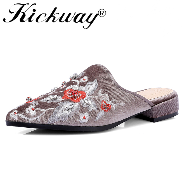 Kickway Women Ethnic Shoes Slip On Mule Loafer Flats Shoes Slides Slippers Pointed Toe Embroider Flowers Pigskin Plus Size 34-42