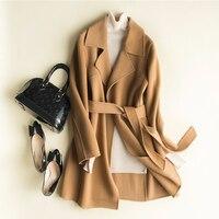 Женское осеннее шерстяное пальто, Женское пальто, зима 2018, длинное шерстяное пальто, куртка с поясом, женский плащ, Свободный Топ с v образным