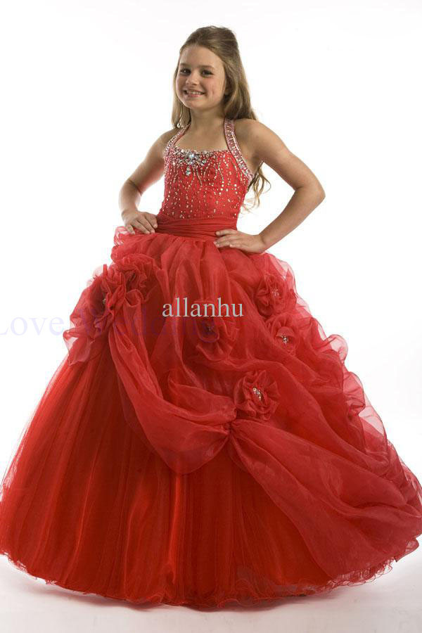 2014 Most Beautiful Girls Pageant Gown New Sweetheart Ball Pretty Flower Girl Dress Custom Made Free Shipping CH-1223