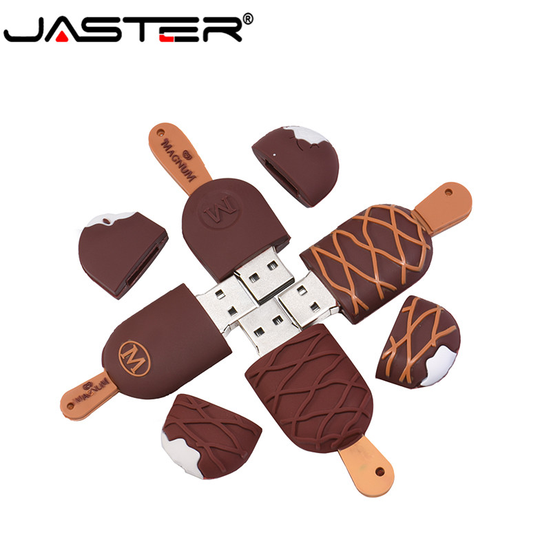 JASTER USB 2.0 Cartoon Popsicle Usb Flash Drive 4GB 8GB 16GB Silicone U Stick 4GB 8GB 16GB 32GB 64GB Ice Cream Pendrive