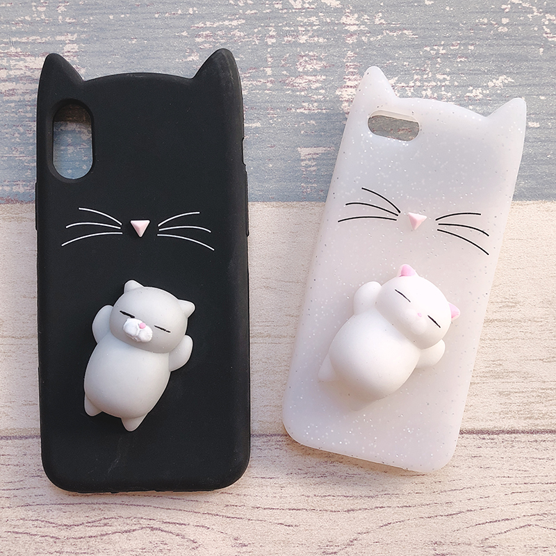 3D Cute Japan Glitter Bearded Cat Case For iphone 5 5S SE X Squishy Cat Cases For iphone 7 8 6 6S Plus Silicone Mobile Phone Bag (12)
