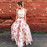 Two Pieces Prom Dresses 2019 O Neck Lace Applique Custom made Floral Printed A Ling Prom Long Party Gown