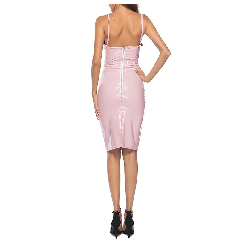 New Charmed Women Faux Leather Sexy Dress Wetlook Sexy Halter Sleeveless Deep V Cut Dress Shiny PU Nightclub Uniforms  (4)