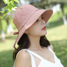 Fashion sun protection visor ladies spring and summer autumn cotton linen hat solid color bow basin cap folding fisherman