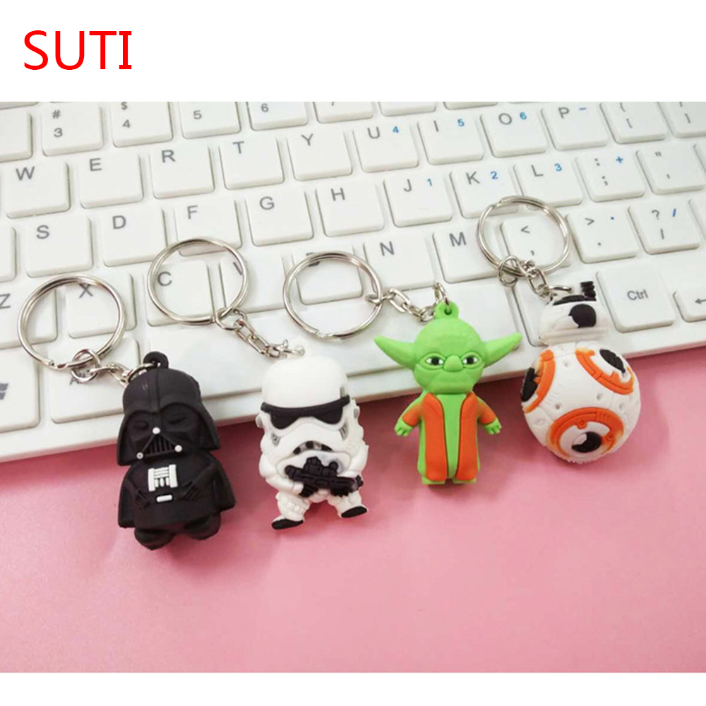 SUTI 1PCS Star War Keychain Darth Vader Storm Trooper Action Minifigure KeyRing Star War Action Figures Toy Gift Llavero