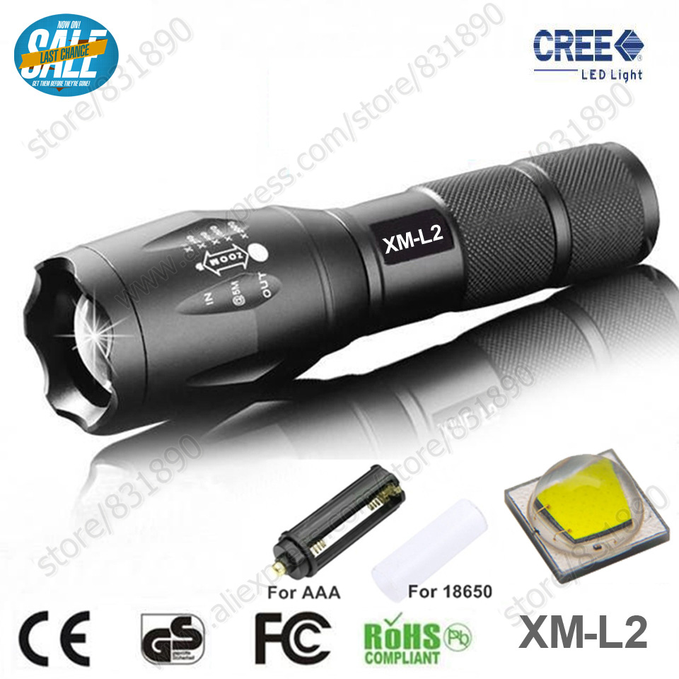 Hot Sale Torch lights Flashlight CREE XM-L2 6000lm Zoomable Linternas LED Flashlight Tactical flashlight For 3xAAA or 1x18650