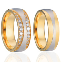 Luxury 18k Gold Plating Health Titanium Jewelry Engagement Wedding Bands Promise Rings Sets For Men And