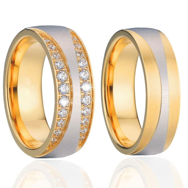 Mens love Wedding Band Couple Rings titanium stainless steel jewelry Cubic Zirconia eternity Engagement Rings For Women