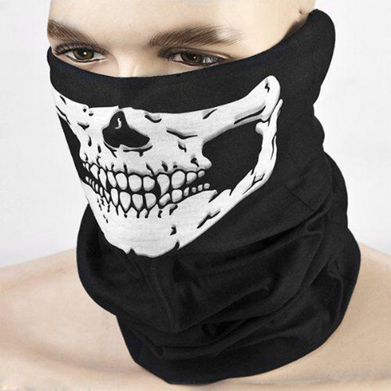 Ghost Scary Mask Masquerade Party Skull Masks Skeleton Outdoor Motorcycle Bicycle Half Face Mask Cap Neck Scarf