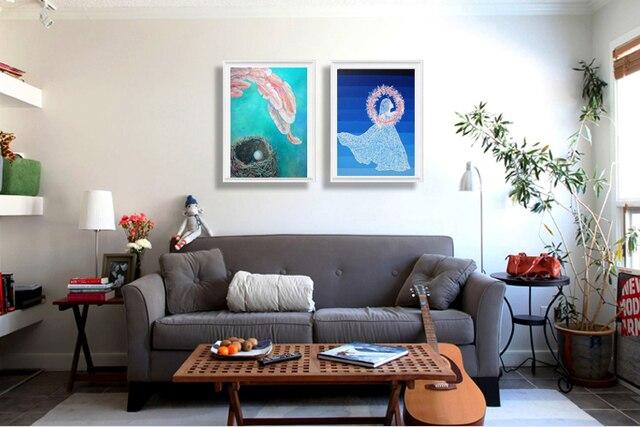 Abstract canvas schilderij muurschildering prints posters 2 panelen