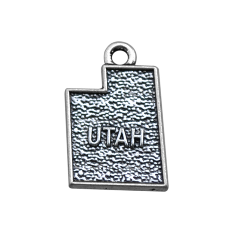 50PCS/Lots 2 Style Silver Utah State Map Dangle Charms Jewelry DIY Fit Bracelet Necklace
