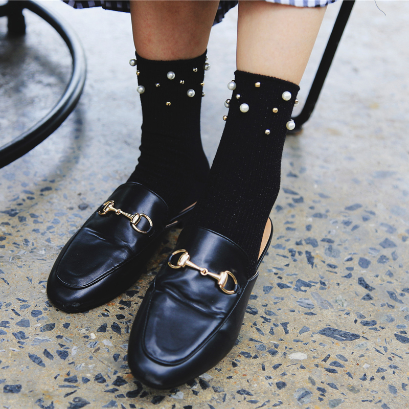 Fashion Design Luxury Pearl Short Socks Women Vintage Harajuku Short Socks Solid Cotton Funny Harajuku Socks Art Female