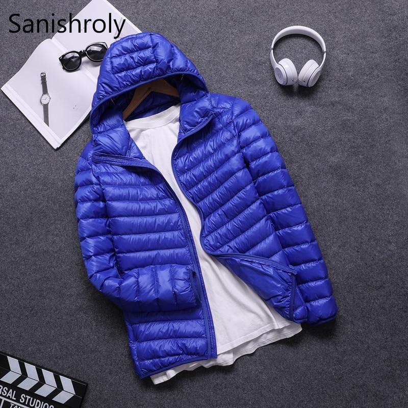 Sanishroly Hooded White Duck   Down   Jacket Parkas Winter Men's   Down     Coats   Thin Short   Coat   Male Ultra Light Outwear Plus Size SE342