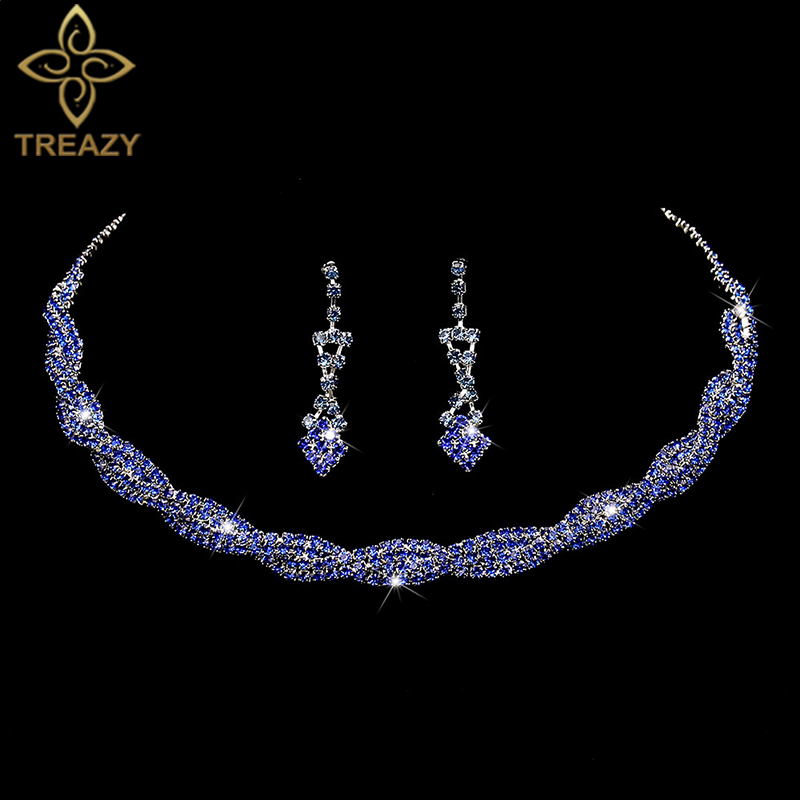 TREAZY Wedding-Jewelry-Sets Necklace Earrings Rhinestone Royal-Blue Choker Crystal Women