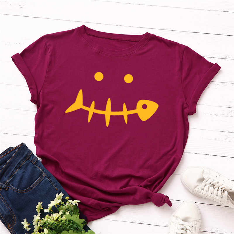 U-SWEAR Nieuwe Fishbone Glimlach Gezicht Print T Shirt Vrouwen 100% Katoen O Hals Korte Mouwen Zomer T-Shirt Tops Casual T-shirt