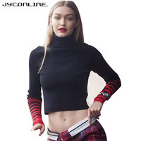 JYConline Winter Striped Knitted Turtleneck Sweater Pullover Women Long Sleeve Slim Cropped Top Knitwear Pullover Female