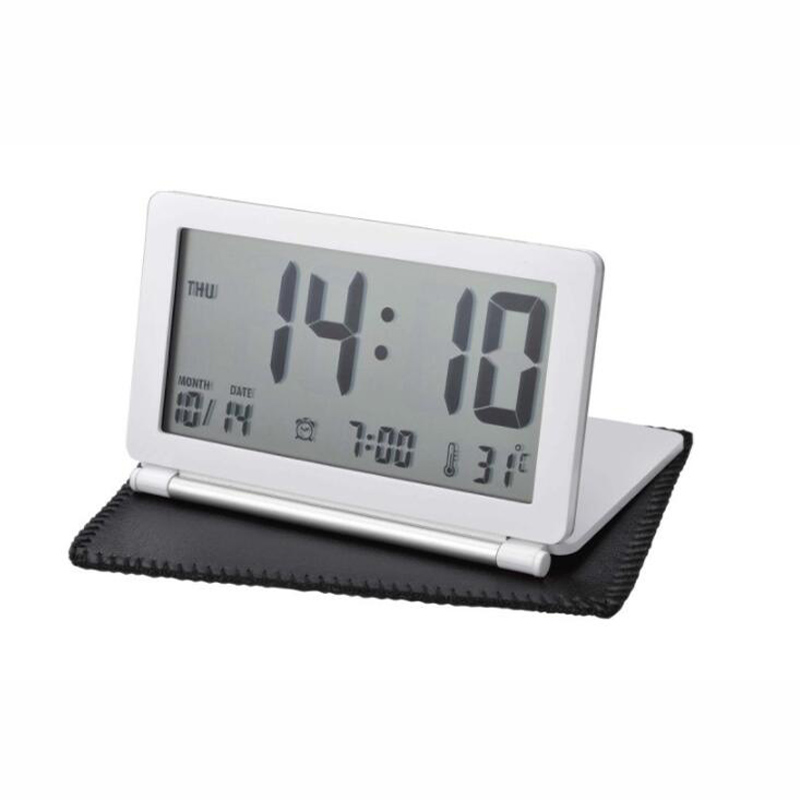 New Travel Folding Thin Silent LCD Display Electronic Digital Desk Table Alarm Clock Calendar Thermometer with Storage Pouch