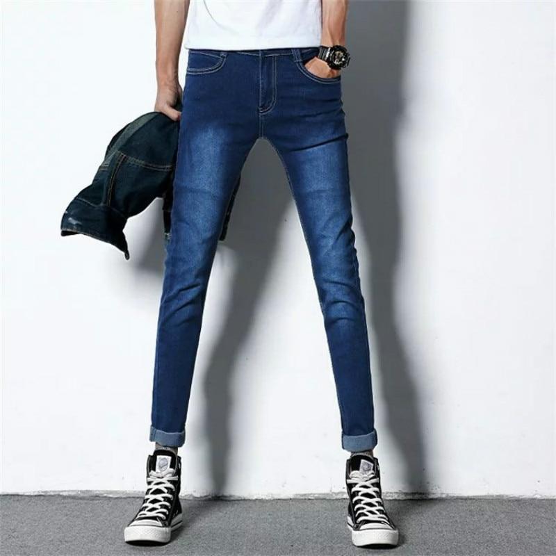 2019 Black Blue Skinny Jeans Men Spring Summer Stretch Slim Jean Pants Men Cotton Casual Denim Jeans Long Jean Pants Size 27-36