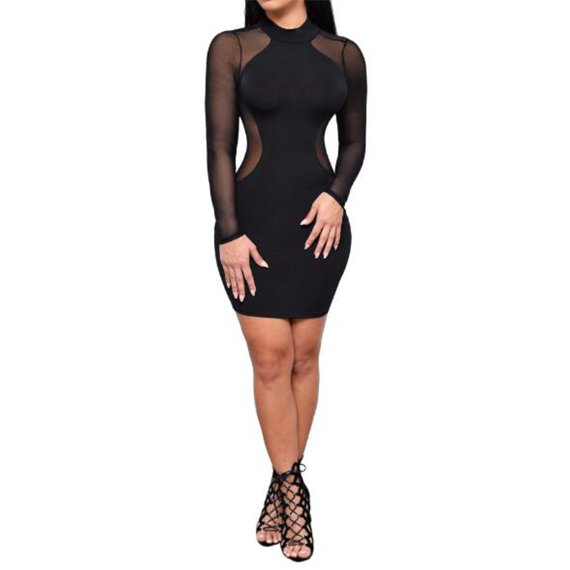 Summer bandage party short dress new ladies sexy net yarn bandage dress long sleeves Slim nightclub dress black friday X112