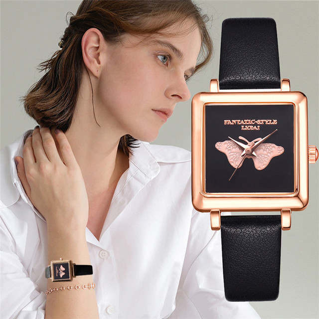 Top Brand Square Women Bracelet Watch Contracted Leather Butterfly Pattern Wrist