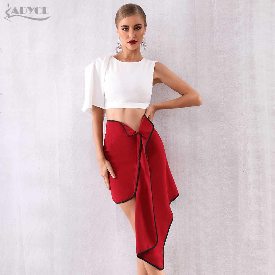 ADYCE/Новые летние женские облегающие комплекты Vestido, комплект из 2 предметов, сексуальный топ с оборками и короткими рукавами, с кисточками, вечернее платье знаменитостей