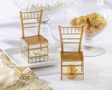 100pcs Gold Chair PVC Transparent Candy Box Favor Gift Box Wedding Box Baby Shower Boxes wedding favors and gifts(China)