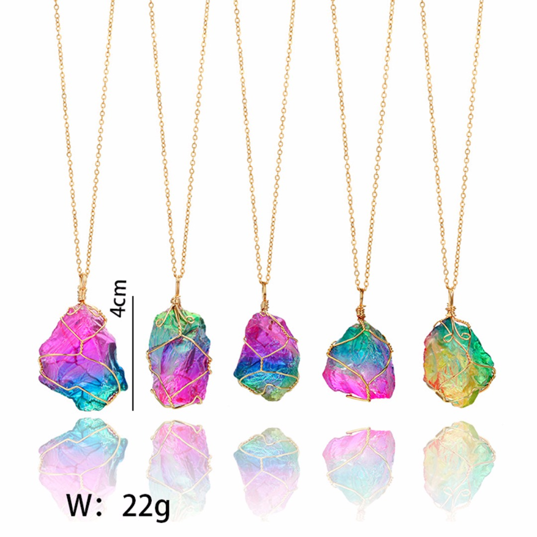 Rock Chain Necklace Rainbow Colorful Irregular Stone Crystal Chakra Pendant Necklaces Collier Femme Vintage Jewelry Shellhard