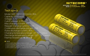 Image 3 - 1pcs original Nitecore IMR18650 IMR 18650 3100mAh 35A 3.7v batteries High Drain Rechargeable Battery Ideal for Vaping Devices