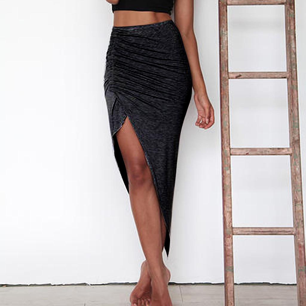 Women Pure Color skirts Knitting Tight Fitting irregularity Half Body comfortable sell good  saia jeans feminina