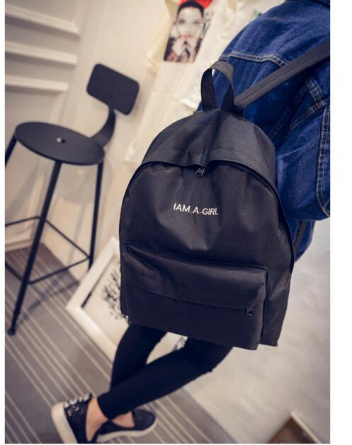 HOT! 2016 New Arrival Women's Backpack Canvas Shoulder Bags Student Preppy Style I AM A GIRL Travel Bags School Backpack pleega new 2017 preppy style student leisure school bag teenagers girl canvas backpack boy school backpack big backpack notebook