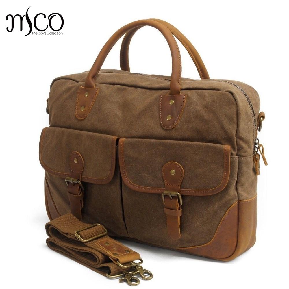Casual canvas briefcase laptop bag vintage purses and handbags luxury men shoulder bag high quality crossbody top-handle bags casual canvas satchel men sling bag