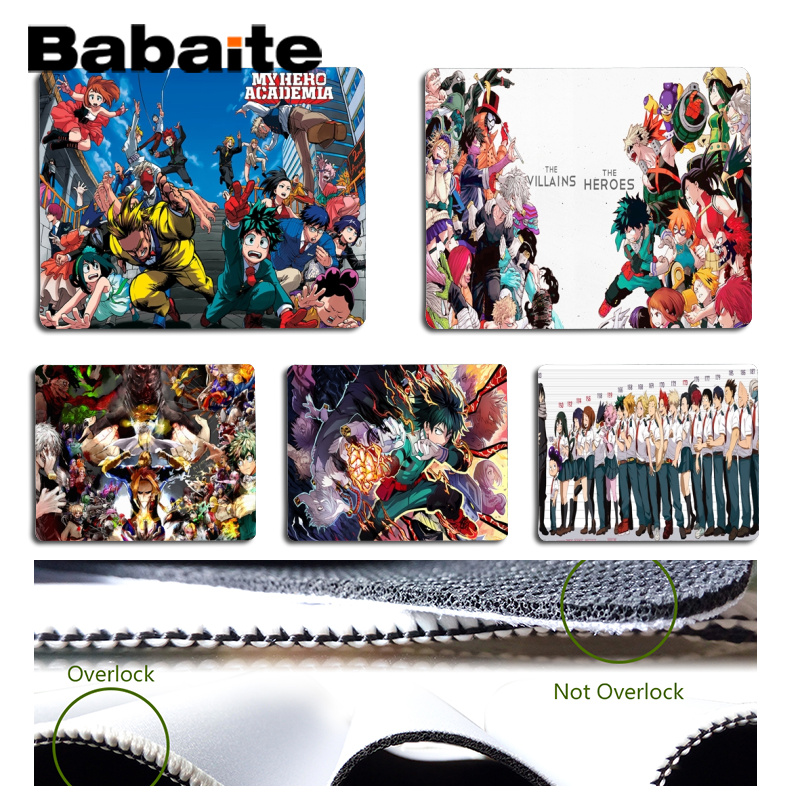 Babaite My Favorite My Hero Academia gamer play mats Mousepad Size for 18x22cm 25x29cm Rubber Mousemats