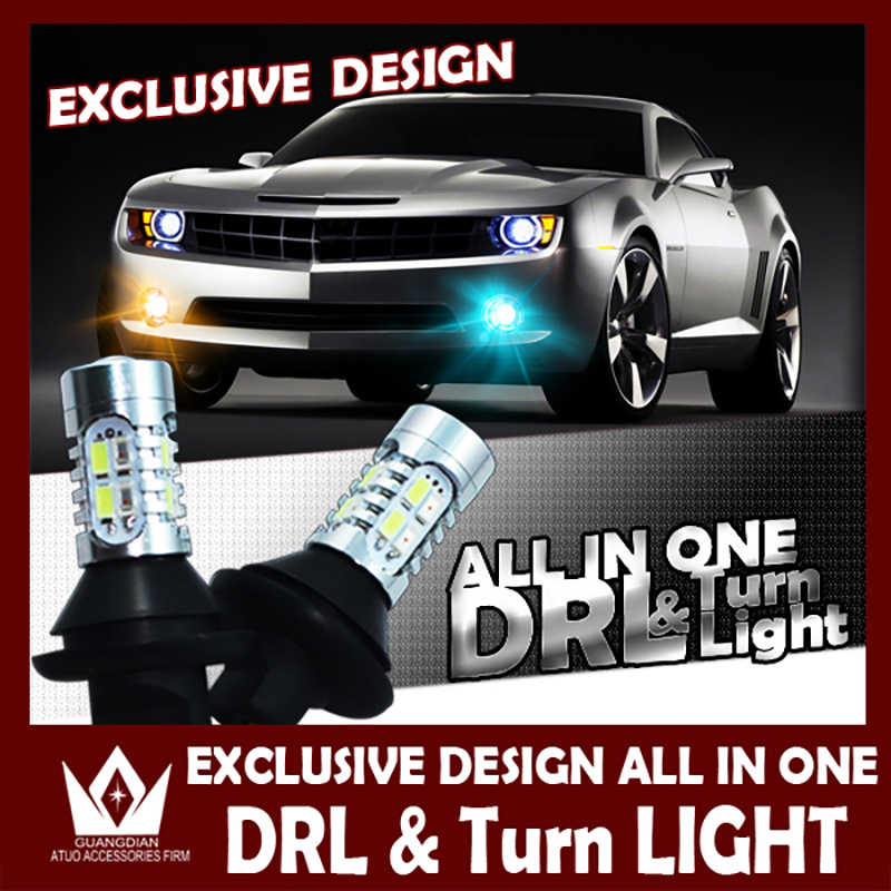 Guang Dian car led light Daytime running Light with turn lamp drl with turn signal light 7440 T20 wy21w DRL For Subaru Forester guang dian car led light gold color daytime running lights