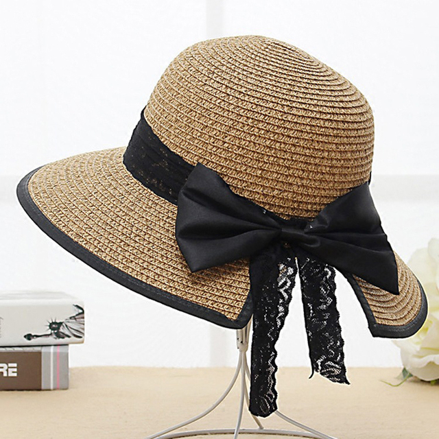ffa1101a9a9 2018 Summer Women Fashion Sun Hat Sweet Elegant Vintage Bowknot Outdoor Sun-Proof  Lady Beach Wide Brim Straw Bucket Caps