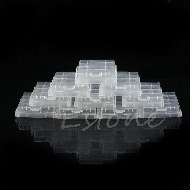10ピースハードプラスチック青白ケースカバーホルダーaa/aaaバッテリー収納ボックス