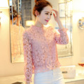 New Spring Pink Lace Blouses Long Sleeve Tunic women's Lace Blouse Slim Cotton Sweet Machine Blouses girls' Neck Checker Blouse