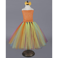Fancy Fluffy Girl Tutu Dress Halloween Orange Pumpkin Custom Little Girls Birthday Party Tutus Child Colorful