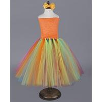 Fancy Fluffy Girl Tutu Dress Halloween Orange Pumpkin Custom Little Girls Birthday Party Tutus Child Colorful